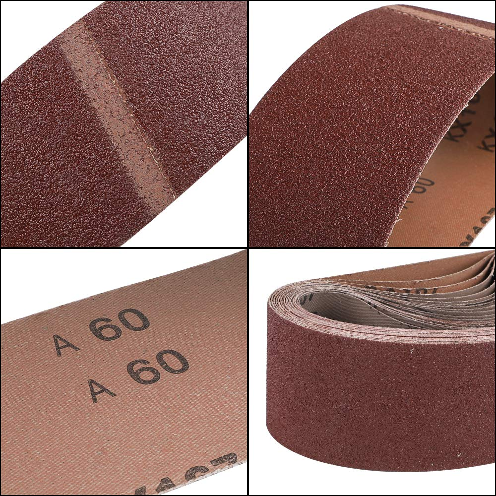 18-Pack Sanding Belts 3 Each of 60 80 120 180 240 400 Grits For Belt Sander Aluminum Oxide Sanding Belt 75x533mm Coceca 3x21inch