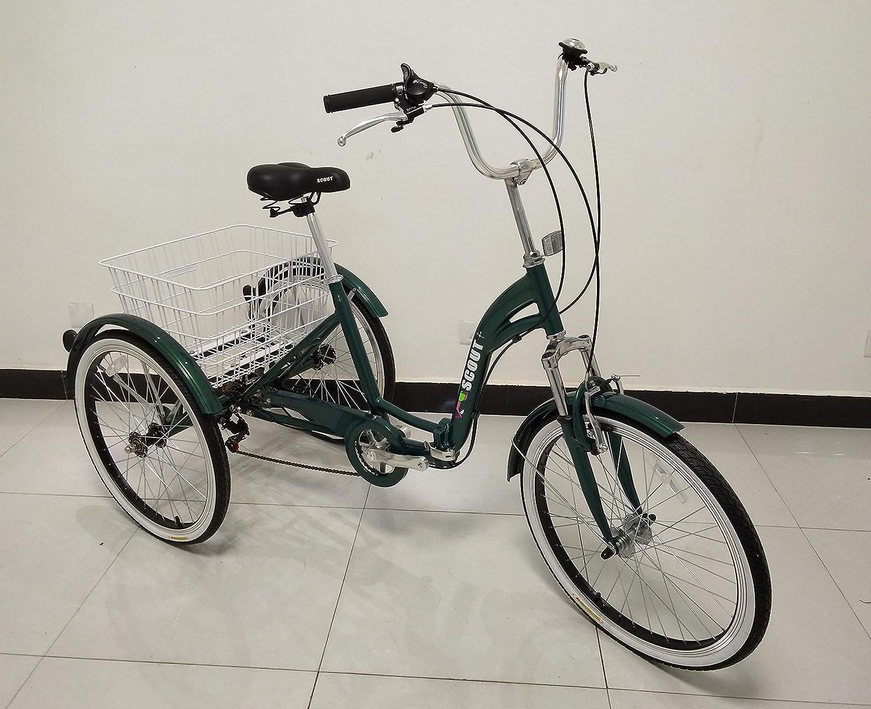 Telaio Pieghevole sospensioni Anteriori Bicicletta a Tre Ruote QUALITY Triciclo per Adulti di qualit/à Telaio in Lega Cambio Shimano a 6 Marce