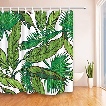 """Banana leaves and palm leaves Waterproof Fabric Home Decor Shower Curtain 71X71/"""""""