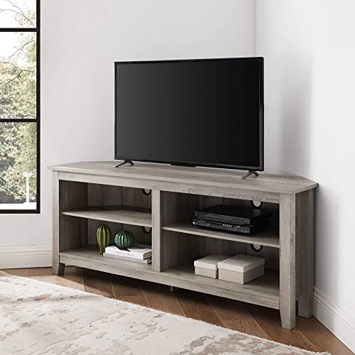 Walker Edison Furniture Company Simple Farmhouse Wood Stand Cabinets 56 Flat Screen Universal TV Console Living Room Storage Shelves Entertainment Center, 58 Inch, Grey