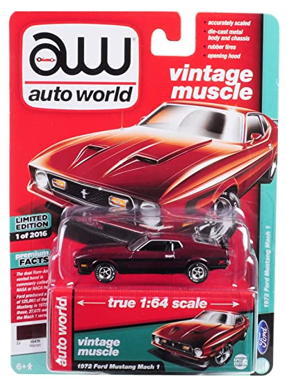 2016 Mustang Mach 1 >> 1972 Ford Mustang Mach 1 Maroon With Black Stripes Limited Edition To 2 016 Pieces Worldwide 1 64 Diecast Model Car By Autoworld Awsp011
