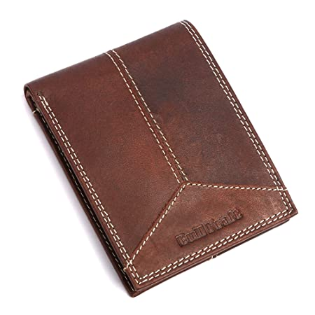 BULL KRAFT Stitch Design Genuine Leather Wallet for Men/Boy  Card Slot   8, Dark Brown