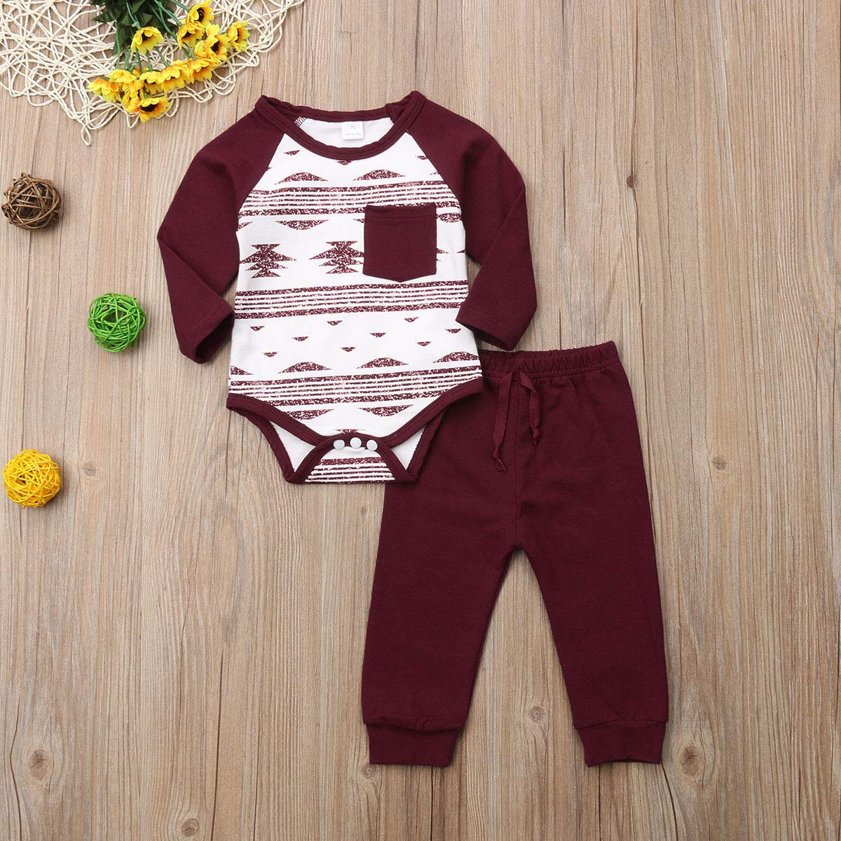 Newborn Baby 2PCs Romper Pants Set with Front Pocket Top Geometrics Legless Bodysuit Leggings Jogger Clothing Set