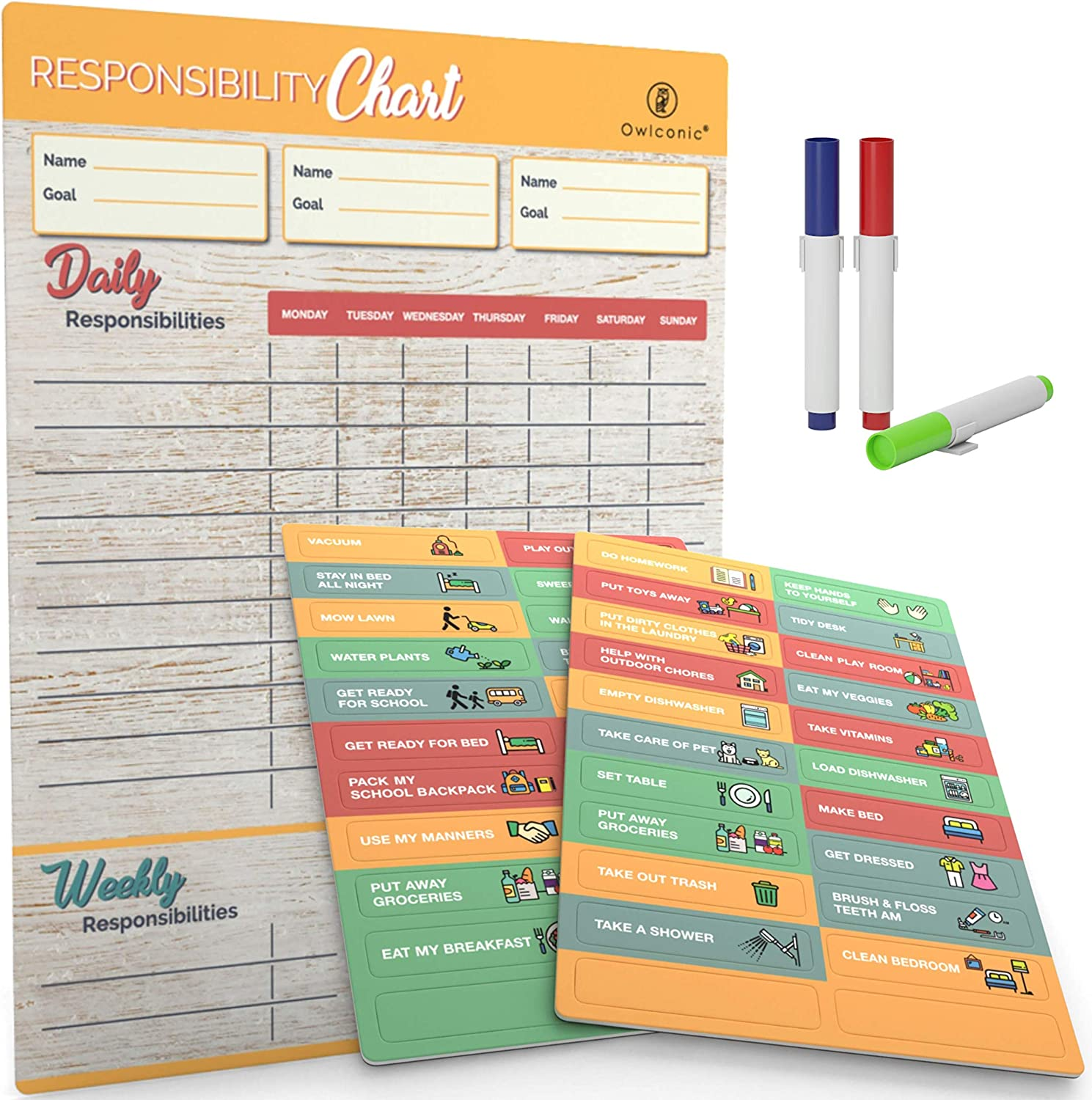 Behavior and Chores Magnets and Large 13 x 17 inch Dry Erase Organizer Board. Magnetic Reward Chore Chart with Markers Great Family Responsibility Planner for 1 to 3 Kids