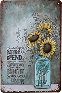 UOOPAI Happiness Sunflower Vase Art Painting Metal Tin Sign, Vintage Plate Plaque Home Wall Decor