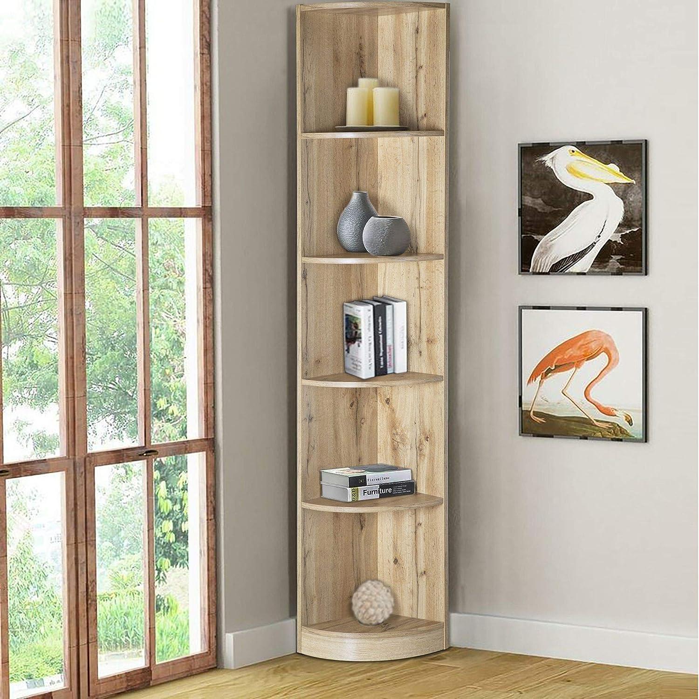 ICE ARMOR 99JET100-3179 5-Tier Corner Bookcase, Wooden Display Shelf Storage Rack, Multipurpose Shelving Unit for Living Room, Home, Office, Beige Oak Finish