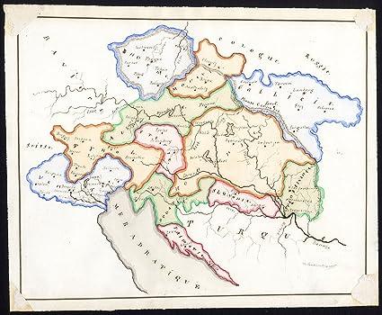 Amazon Com Unique Manuscript Map Bohemia Tyrol Venice Central East