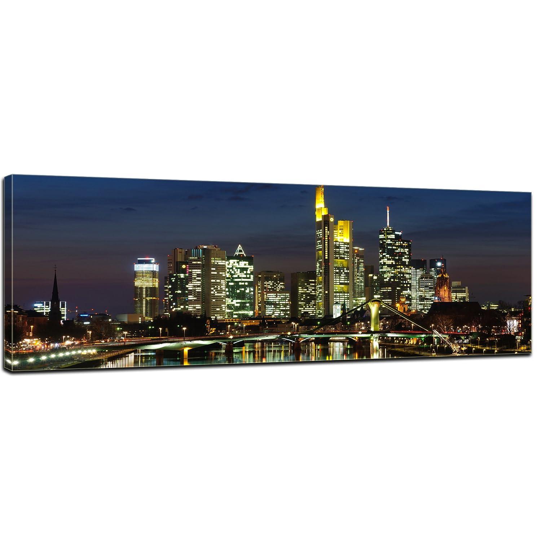 Kunstdruck - Frankfurt Skyline bei Nacht - Deutschland - Bild auf Leinwand - 160x50 cm - Leinwandbilder - Städte & Kulturen - Hessen - Hochhäuser - Messe - Börse