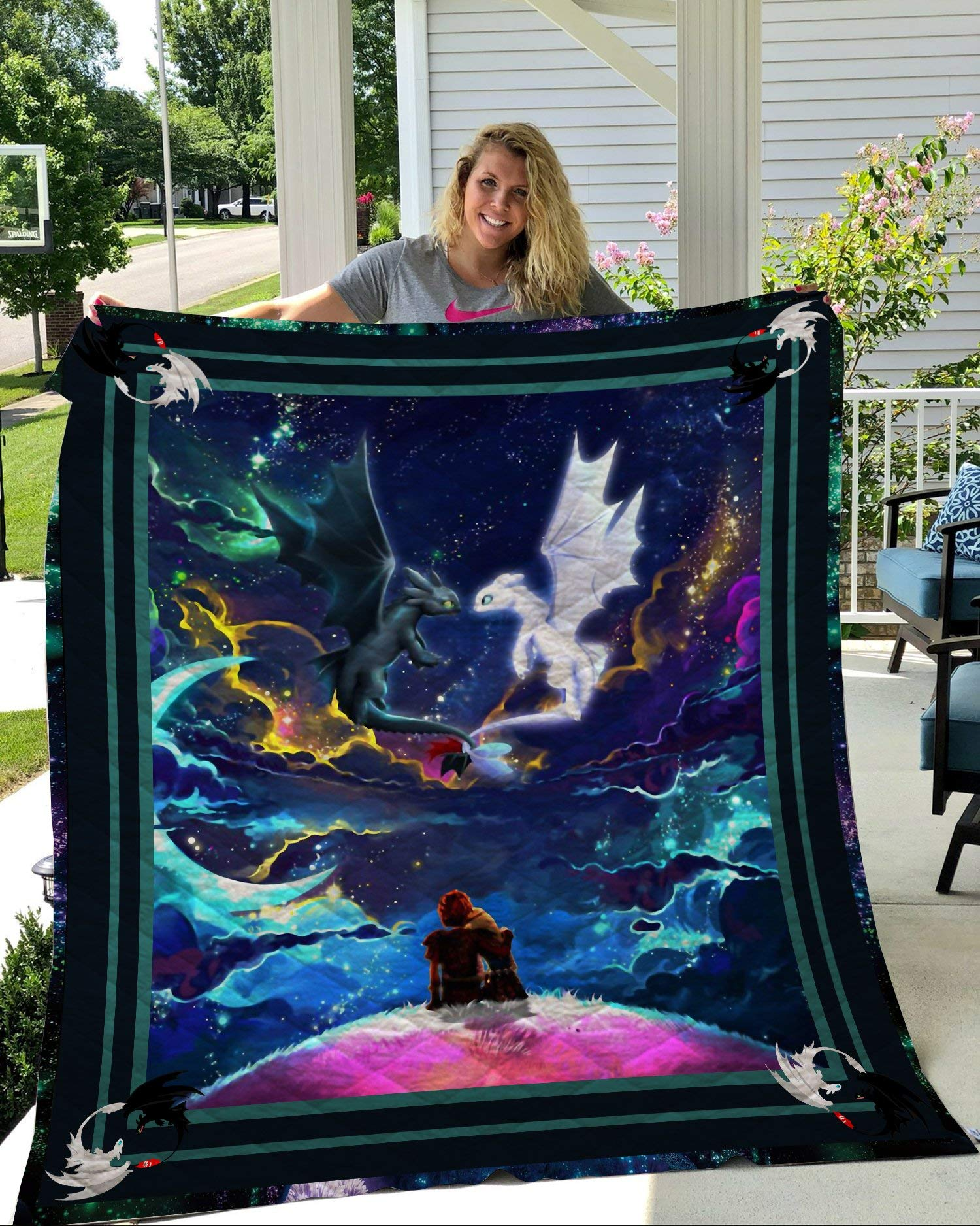 Kids How to Train Your Dragon Theme Quilt Blanket for Kids Bedding Throw Soft Warm Thin Blanket with Cotton Quilt (1,150200CM) by OWHO
