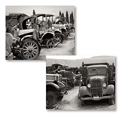 Old Fashion Cars >> Gango Home Decor 2 Black White Antique Old Fashioned Car Graveyard Photograph Prints Two 14x11 Poster Prints