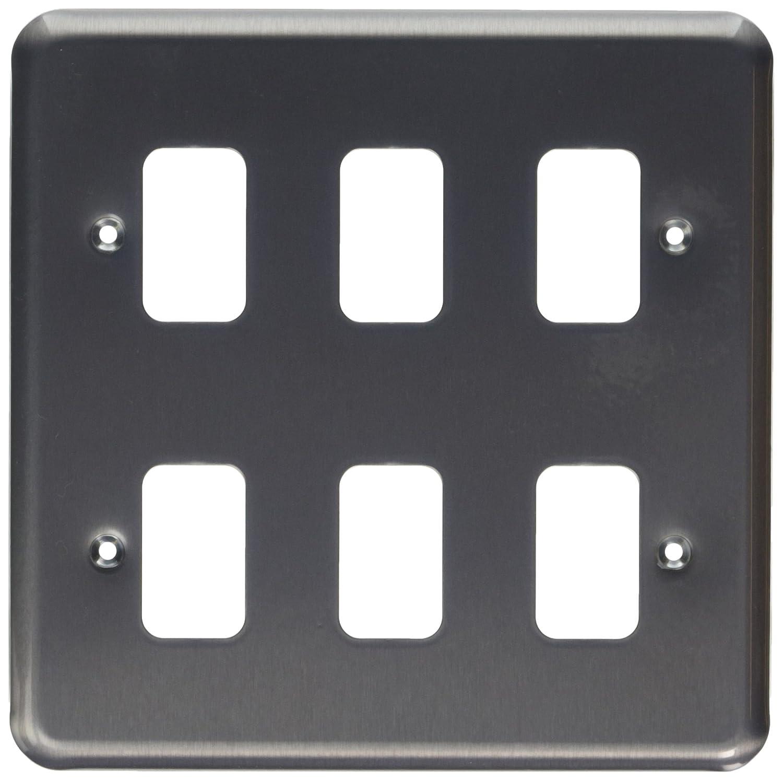MK Grid Plus K3436BRC 6-Module Grid Frontplate - Brushed Chrome