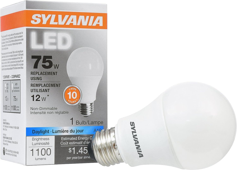 SYLVANIA, 75W Equivalent, LED Light Bulb, A19 Lamp, 1 Pack, Daylight, Energy Saving & Long Life, Medium Base, Efficient 12W, 5000K