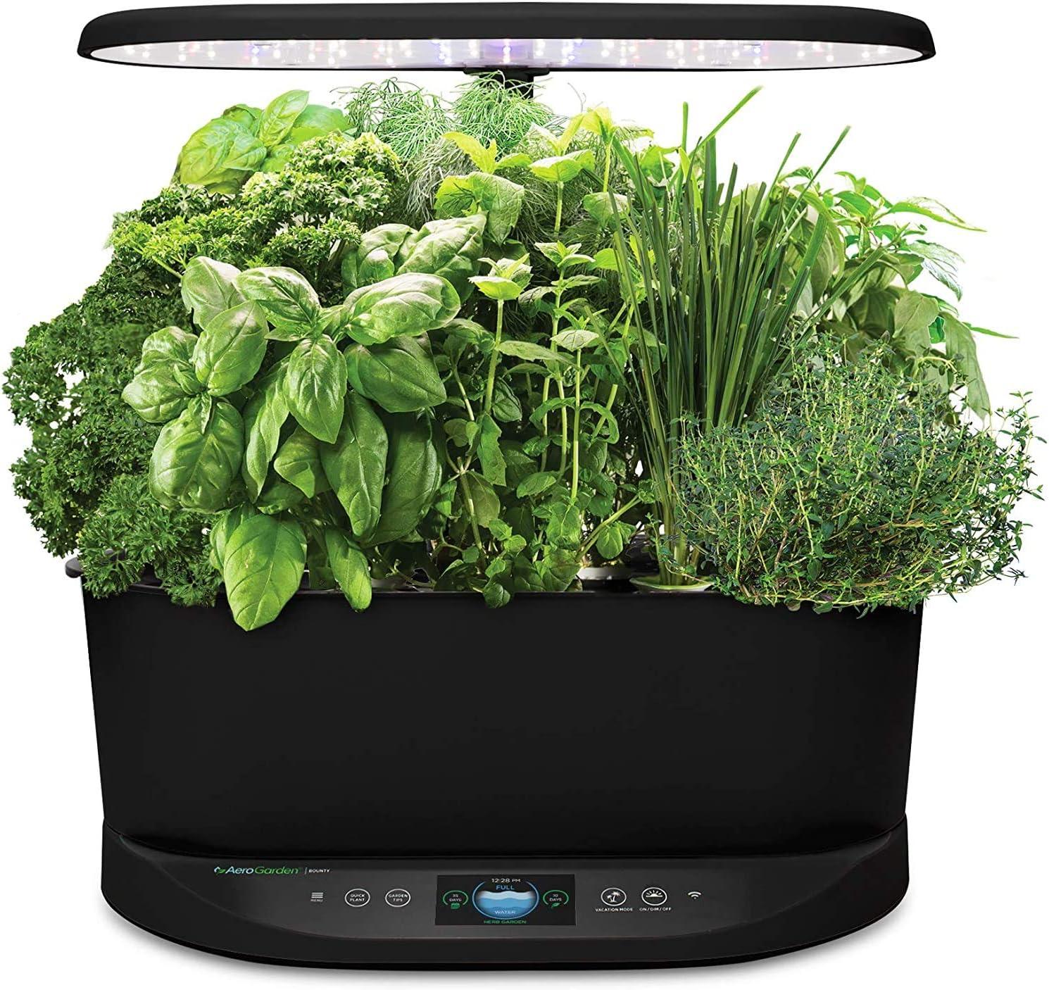 AeroGarden Bounty Indoor Hydroponic Herb Garden, Black