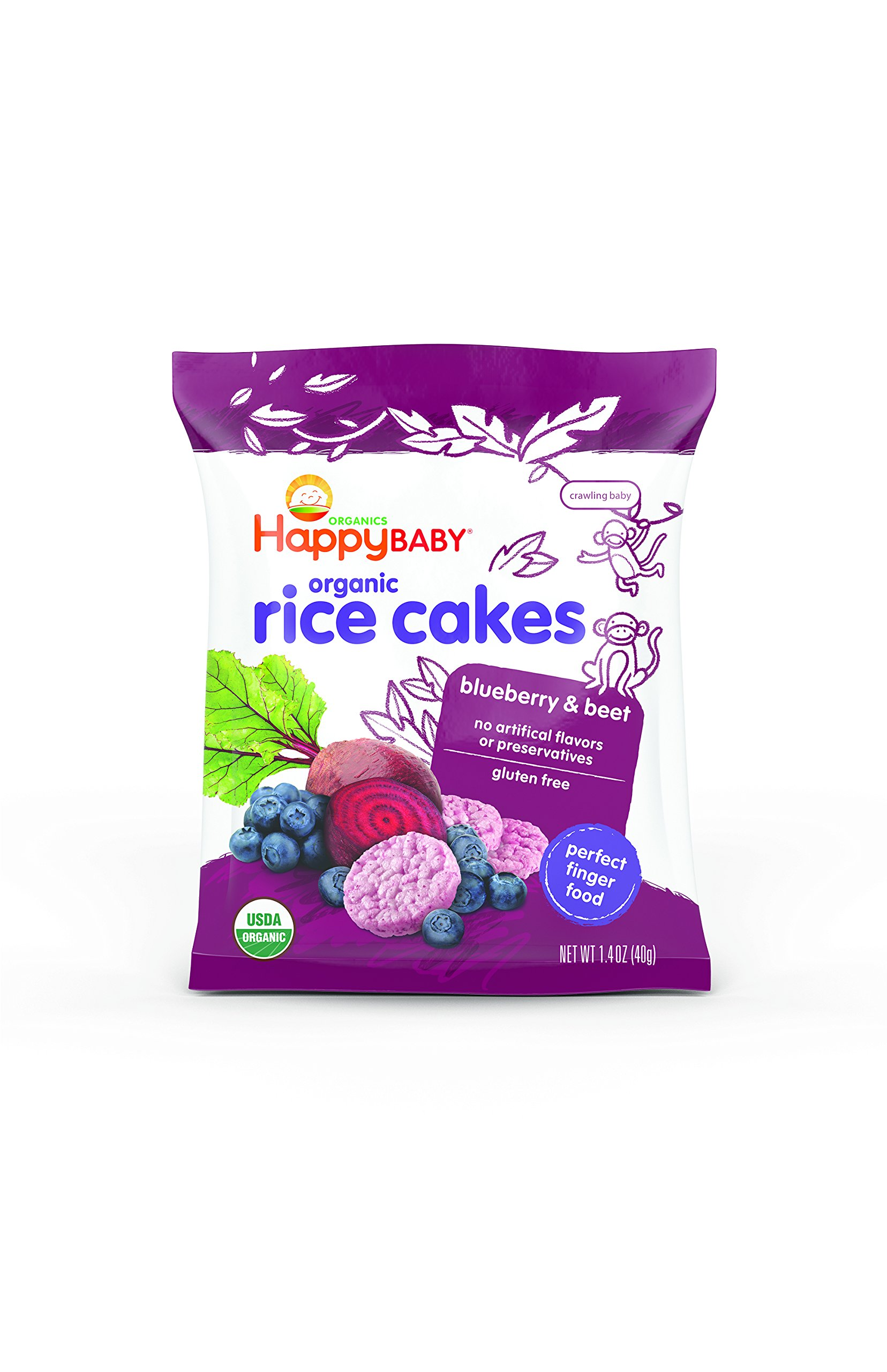 Happy Baby Organic Rice Cakes Blueberry & Beet, 1.4 Ounce Bag (Pack of 10) Puffed Brown Rice Crackers, Baby Snacks or Toddler Snacks, No Added Colors, Encourages Tactility & Self-Feeding