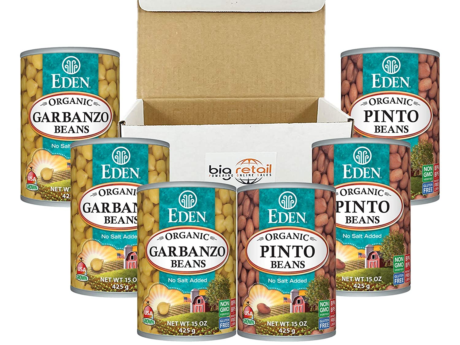 Eden Foods Organic Garbanzo Beans - (Chick Peas) | Pinto Canned Beans Source Of Plant Based Protein and Fibre, Gluten Free Low fat ,No Salt Added , Low sodium Heart Healthy Non GMO 15 OZ Pack Of 6