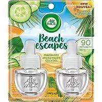 Air Wick Plug-in Air Freshener, Scented Oil Refills, Beach Escapes: Aruba Melon Cocktail, 2 Refills