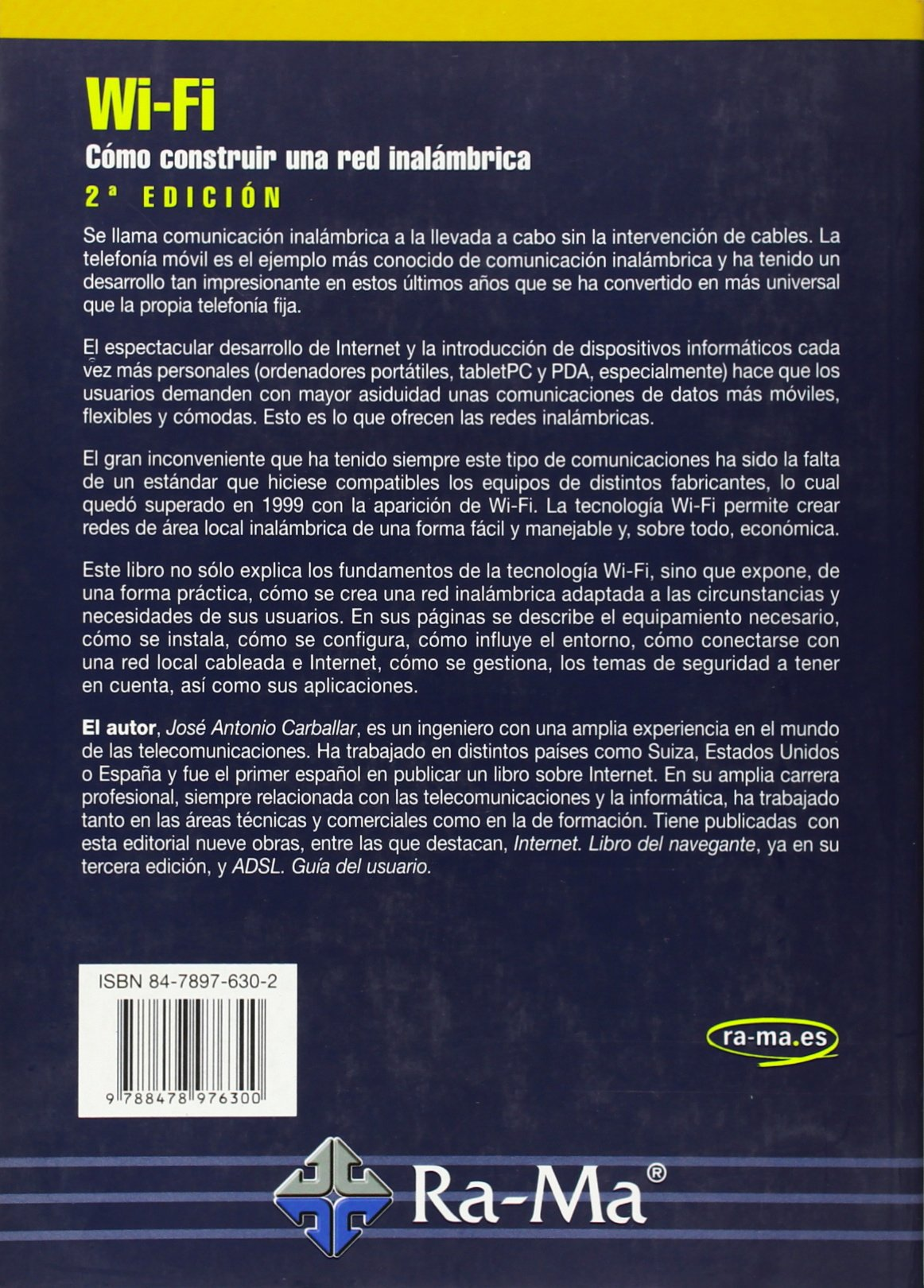 Wi-Fi. Cómo construir una red inalámbrica, 2ª edición.: José A. Carballar Falcón: 9788478976300: Amazon.com: Books