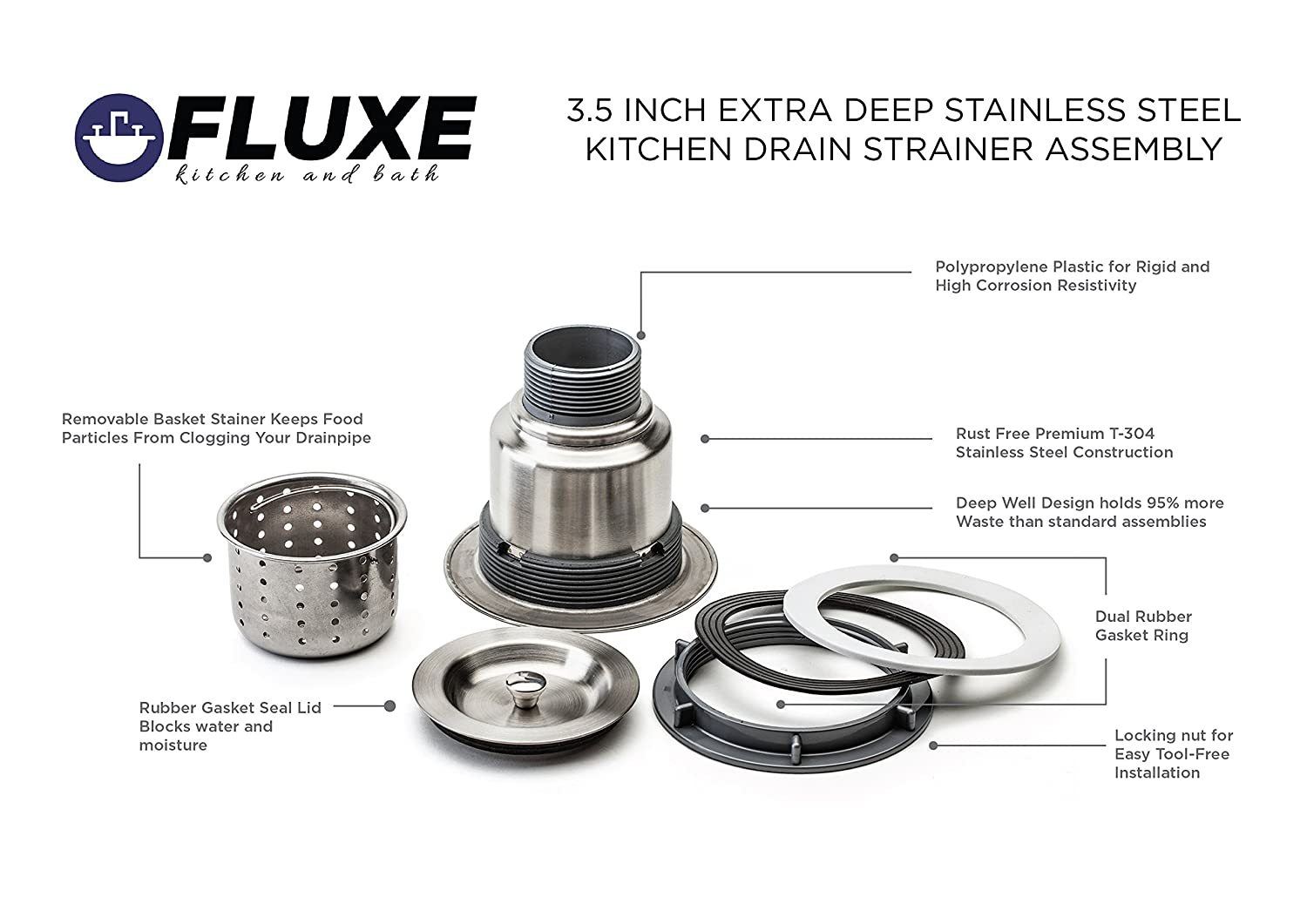 Fluxe 3.5 Inch Stainless Steel Deep Waste Basket Kitchen Sink ...