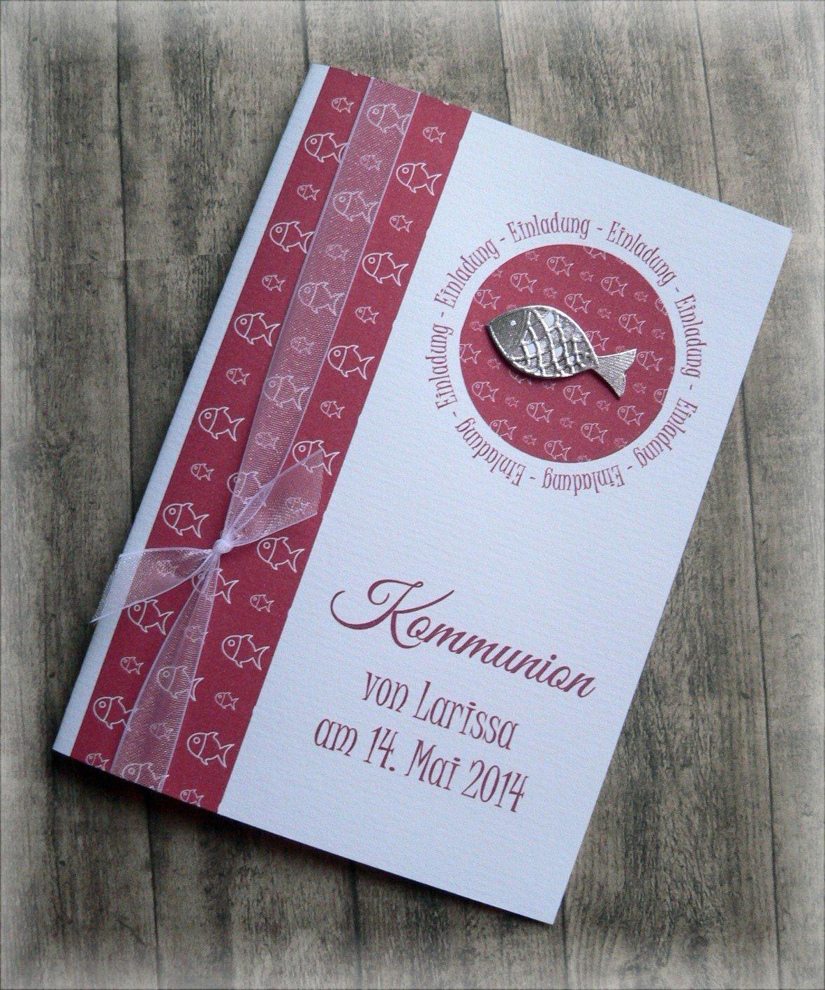 Einladung einladungskarte kommunion konfirmation taufe fisch silber dunkelrot amazon de handmade