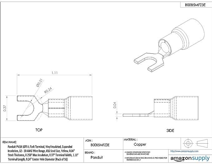 Amazon Com Panduit Pv10 10fx L Fork Terminal Expanded Vinyl