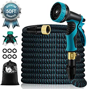 "50 FT Expandable Garden Hose, Upgraded Leakproof Flexible Water Hose,With 9 Function High-Pressure Spray Nozzle and 4-Layers Flex Strong Latex, With 3/4"" Hose Splitter for Watering and Washing"
