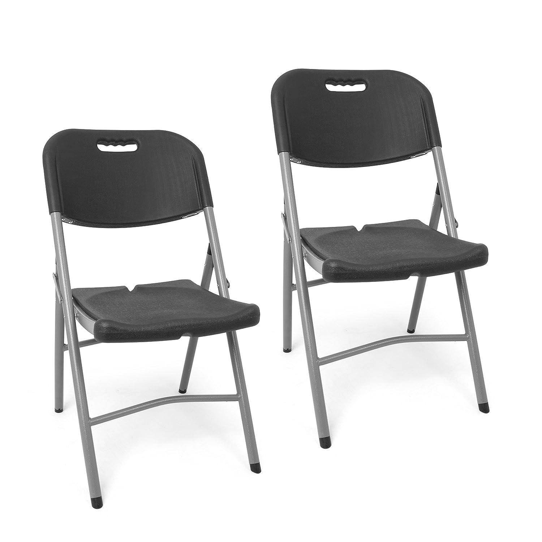 Park Alley Set Sedie Pieghevoli da Giardino Grigie | 2x Sedie da Esterno | Sedia in Plastica da Mare o Campeggio| by Park Alley PA-4987