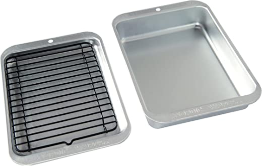 Nordic Ware 43290 3 Piece Naturals Compact Grill and Bake Set, Steel, Silver