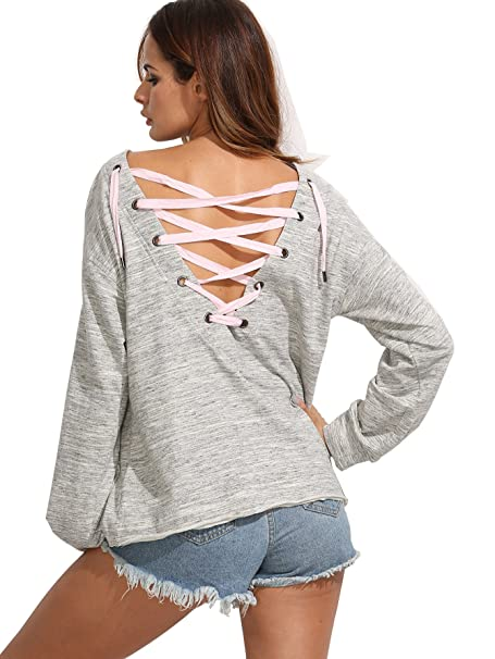SHEIN de la mujer cordones espalda manga larga Pullover Sudadera: Amazon.es: Ropa y accesorios