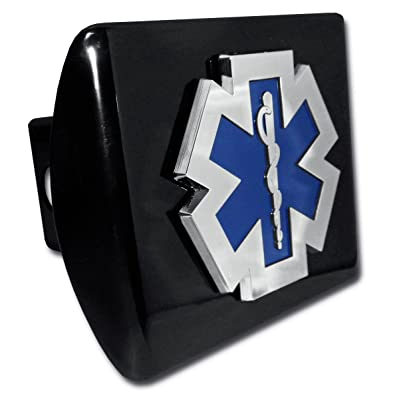 Elektroplate EMS Emblem Black All Metal Hitch Cover: Automotive