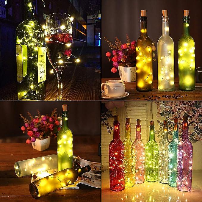 Luz de Botella,Led Corcho Botella, Corcho Luces Led, Tapon Led, MMTX 12 pcs 20 Led Luz de Bricolaje, Lámparas Decoradas, Boda, Fiestas, Navidad, las pilas incluidas(color blanco cálido): Amazon.es: Iluminación