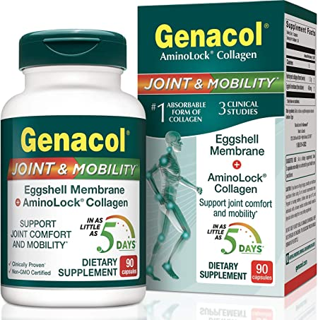 Genacol Joint & Mobility Eggshell Membrane + Collagen Joint Supplement (90 Capsules) Egg Membrane is a Natural Source of Glucosamine , Chondroitin, Hyaluronic Acid and Collagen