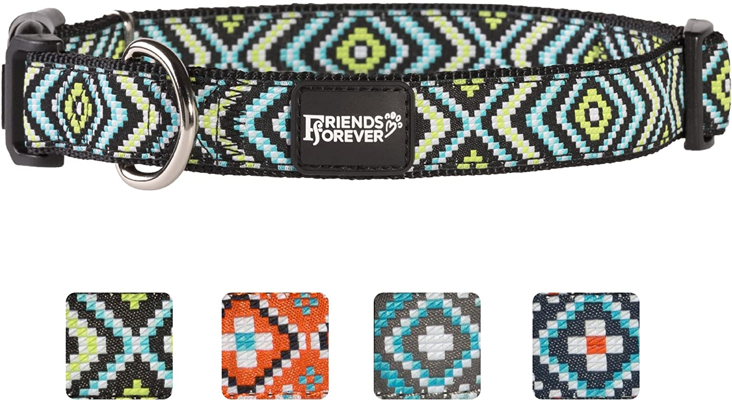 Green Large 18-26\ Green Large 18-26\ Friends Forever Dog Collar for Dogs Fashion Woven Square Pattern Cute Puppy Collar, Green Large 18-26