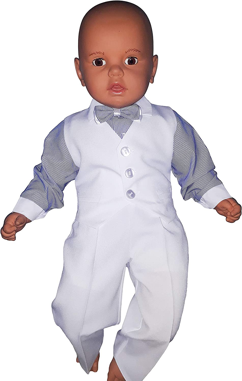 4tlg Unbekannt Taufanzug Baby Junge Kinder Hochzeit Anz/üge Festanzug Wei/ß-Blau K5A