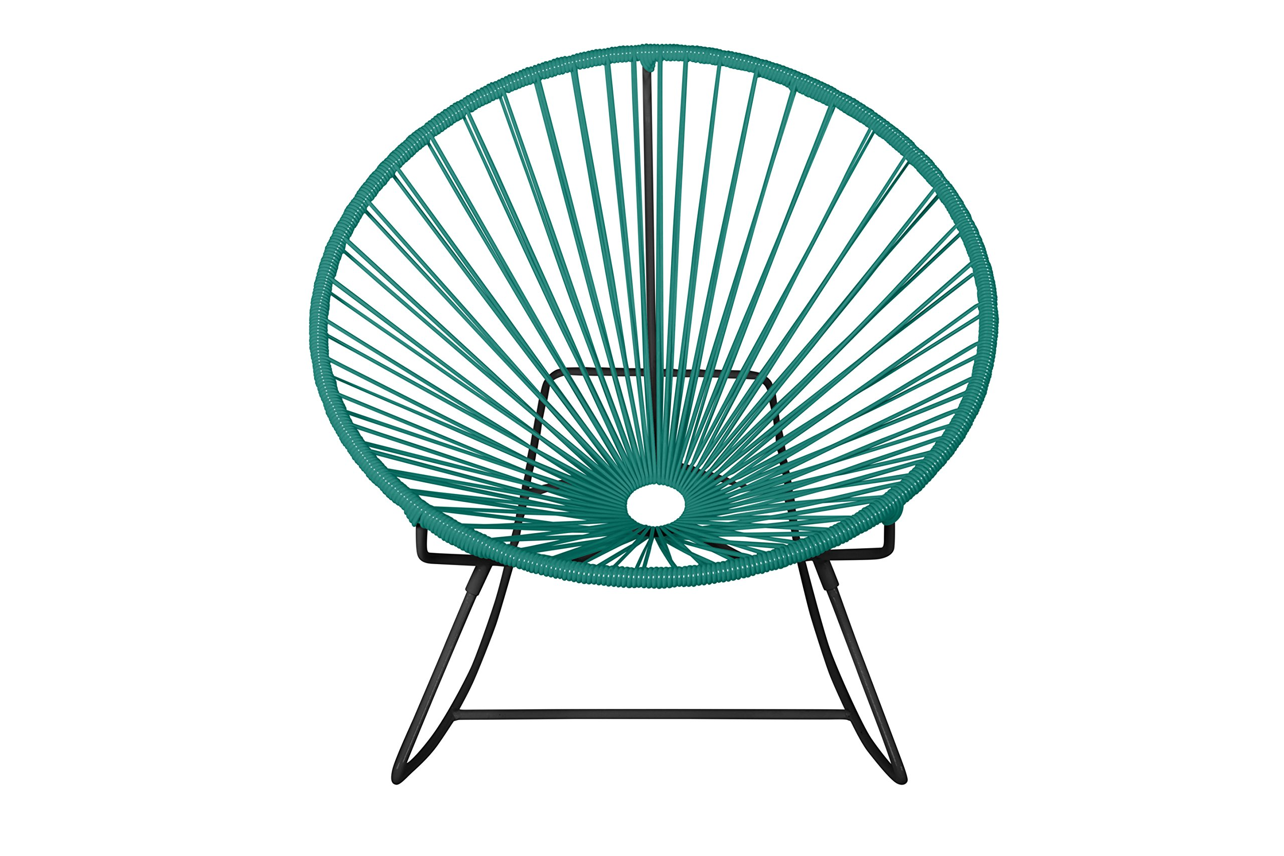 Innit Designs Rocker, Turquoise Weave on Black Frame - Indoor/outdoor rocking chair with woven UV-resistant vinyl cord for comfort and support Rust-resistant, galvanized-steel frame and semi-textured polyester powder coat Modern design; round, hoop-shaped, slightly reclined frame and rocker base; no cushion needed - patio-furniture, patio-chairs, patio - 81RW0NUzXlL -