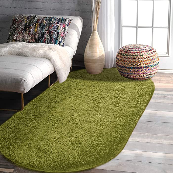 YOH Ultra Soft Shag Rug Fluffy Plush Area Rugs Bedroom Rugs for Living Room Dorm Patio Girls Kids Room Nursery Home Decorative Carpets, 2.6'x5.3'(Green)