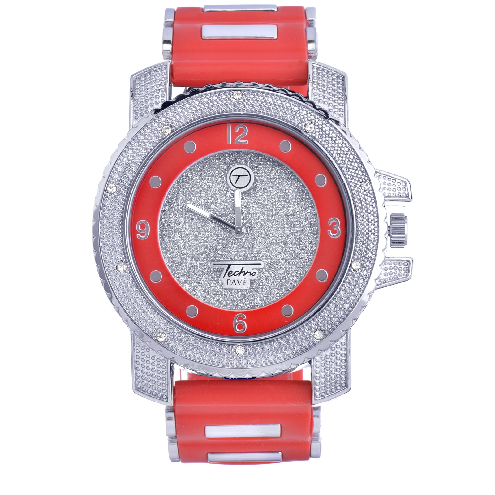 Rapper Hip Hop Silver Plated Diamond Simulated Techno Pave Watch 7758 SRD