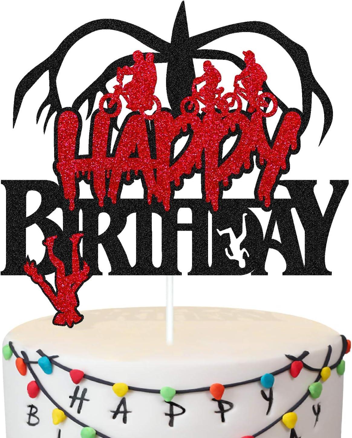 Stranger-Things Birthday Cake Topper Man Kids Boy Girl Happy Birthday Cake Décor for Cartoon Themed Birthday Party Supplies Black Glitter Decor