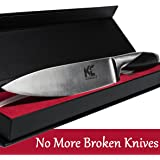 KitchEquip 8-inch Chef Knife - Professional Carbon Stainless Steel - Full Tang - Add to your Chef Knife Set - Multipurpose for Chopping Slicing and Dicing - Compare to many Japanese and German Blades