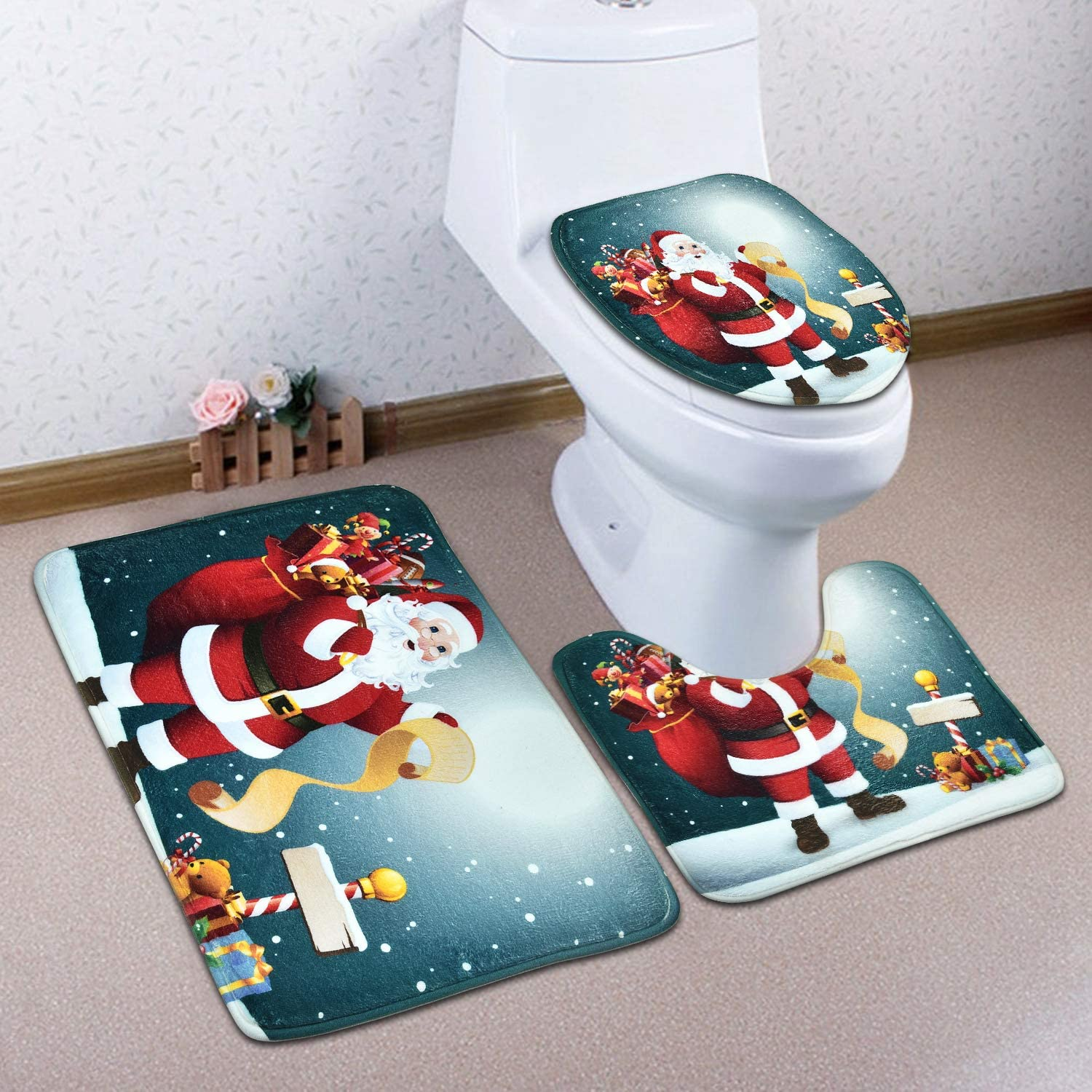Finalshow Christmas Bathroom Accessories Sets Include Waterproof Shower Curtain//Bathroom Rug//Lid Toilet Cover//Bath Mat Santa Xms Gifts 4 Pcs Old Man