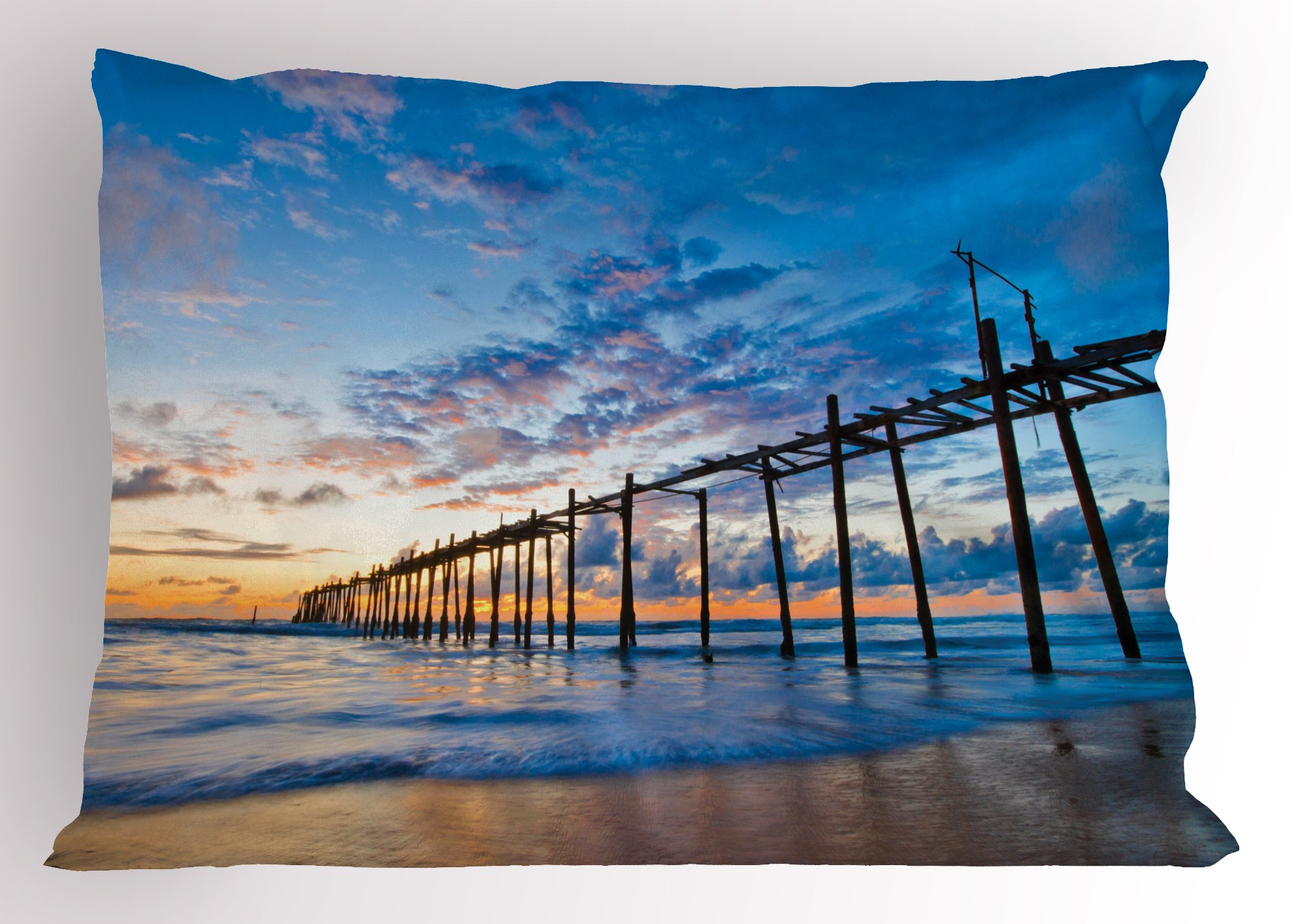 Lunarable Nature Pillow Sham, Sunset and Old Wood Bridge Phang-NGA Thailand Beach Tourism Attractions Romantic, Decorative Standard Size Printed Pillowcase, 26 X 20 inches, Blue Peach by Lunarable (Image #1)