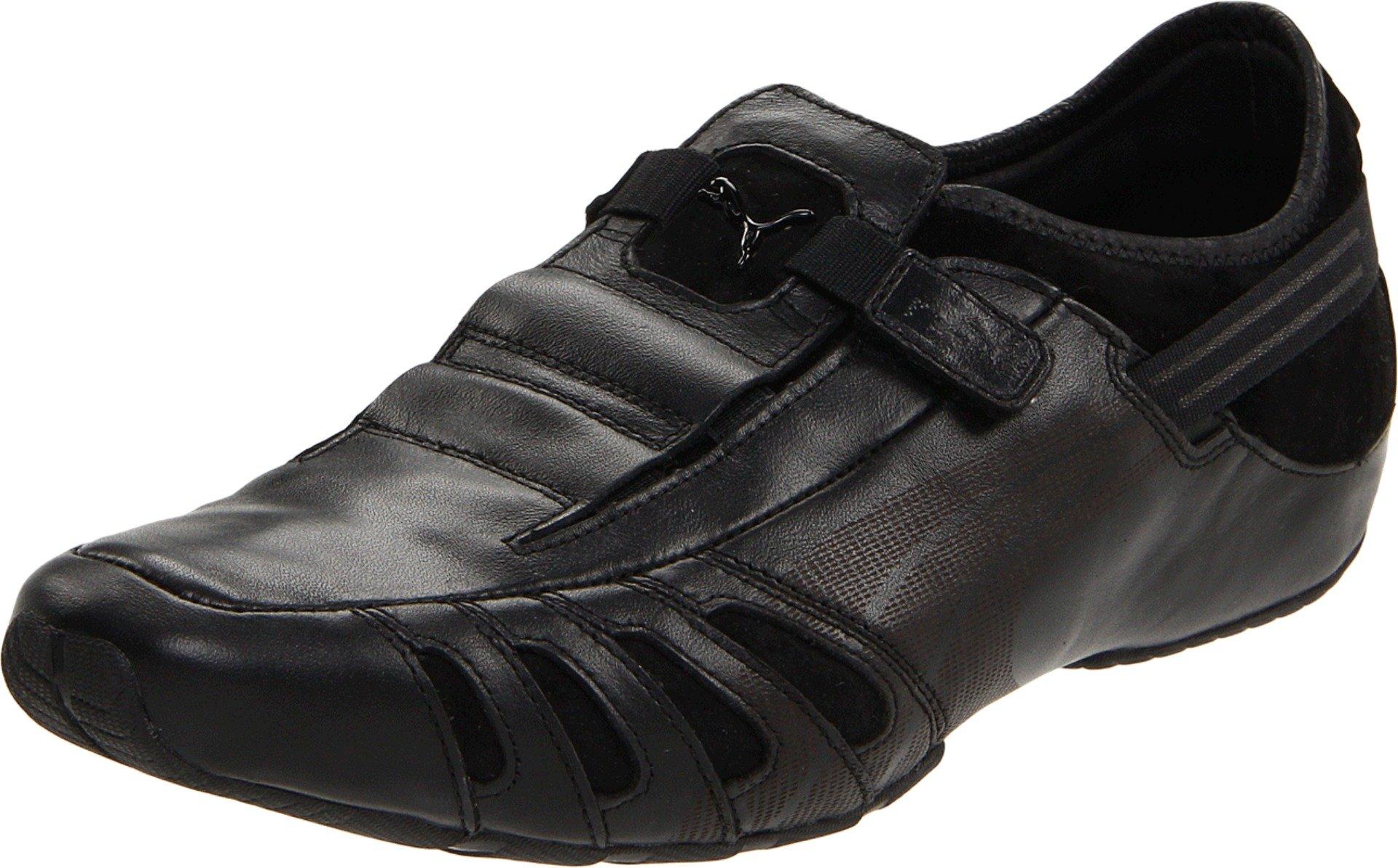PUMA Men's Vedano Leather Slip-On Shoe,Black/Black/Ribbon Red,9.5US/ D US