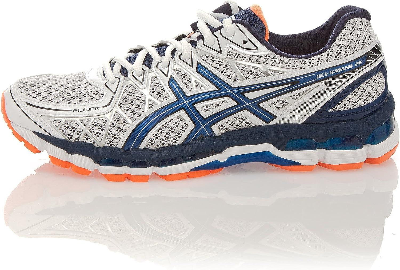 Asics Gel Kayano 20, Zapatillas de Running para Hombre, Blanco/Azul/Naranja, 46 EU: Amazon.es: Zapatos y complementos