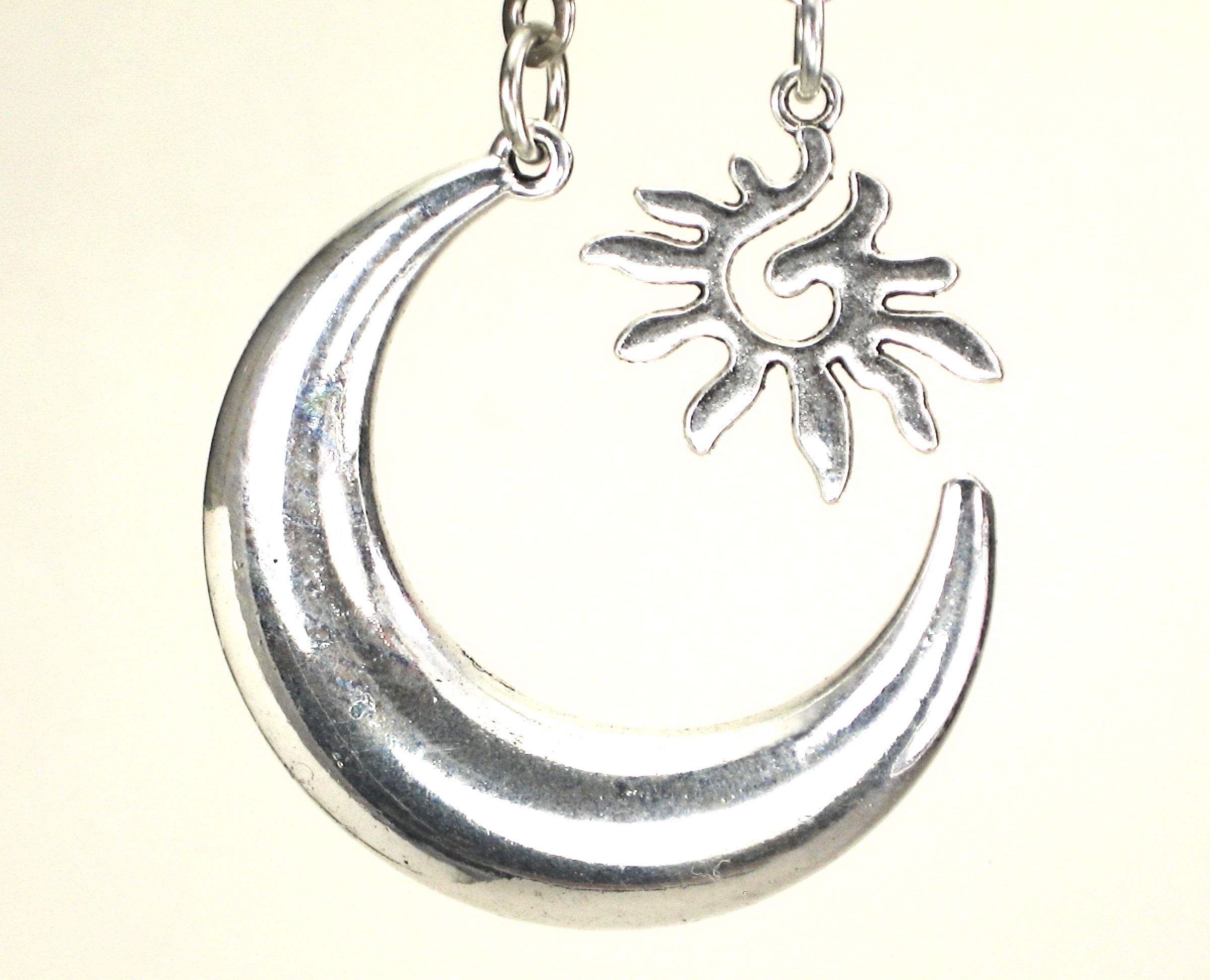 2-Piece Silver Moroccan Moon and Sun Ceiling Fan Pulls Set