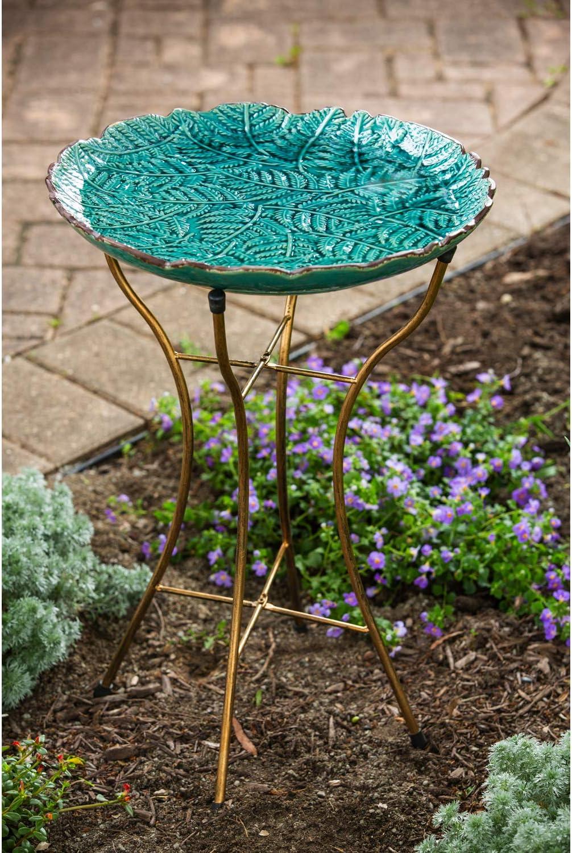 16 x 2 x 16 Inches Evergreen Garden Botanical Pattern Ceramic Bird Bath