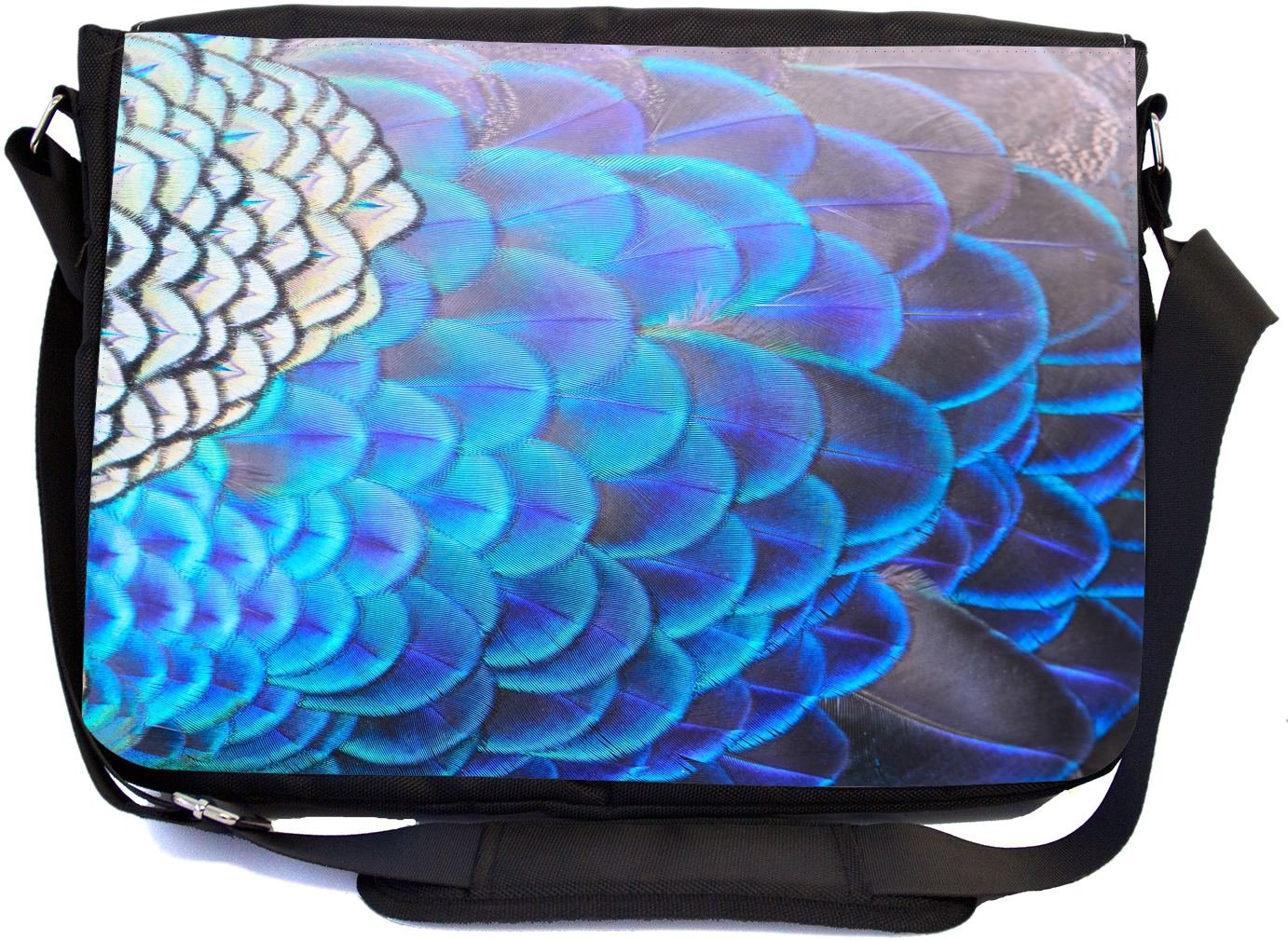 73c164f16653 Rikki Knight Blue Peacock Feathers Design Multifunctional Messenger ...