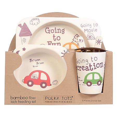POLKA TOTS Bamboo Fibre Kid's Crockery Set, Having 5 Pieces Dining Set -Eco Friendly (Car)