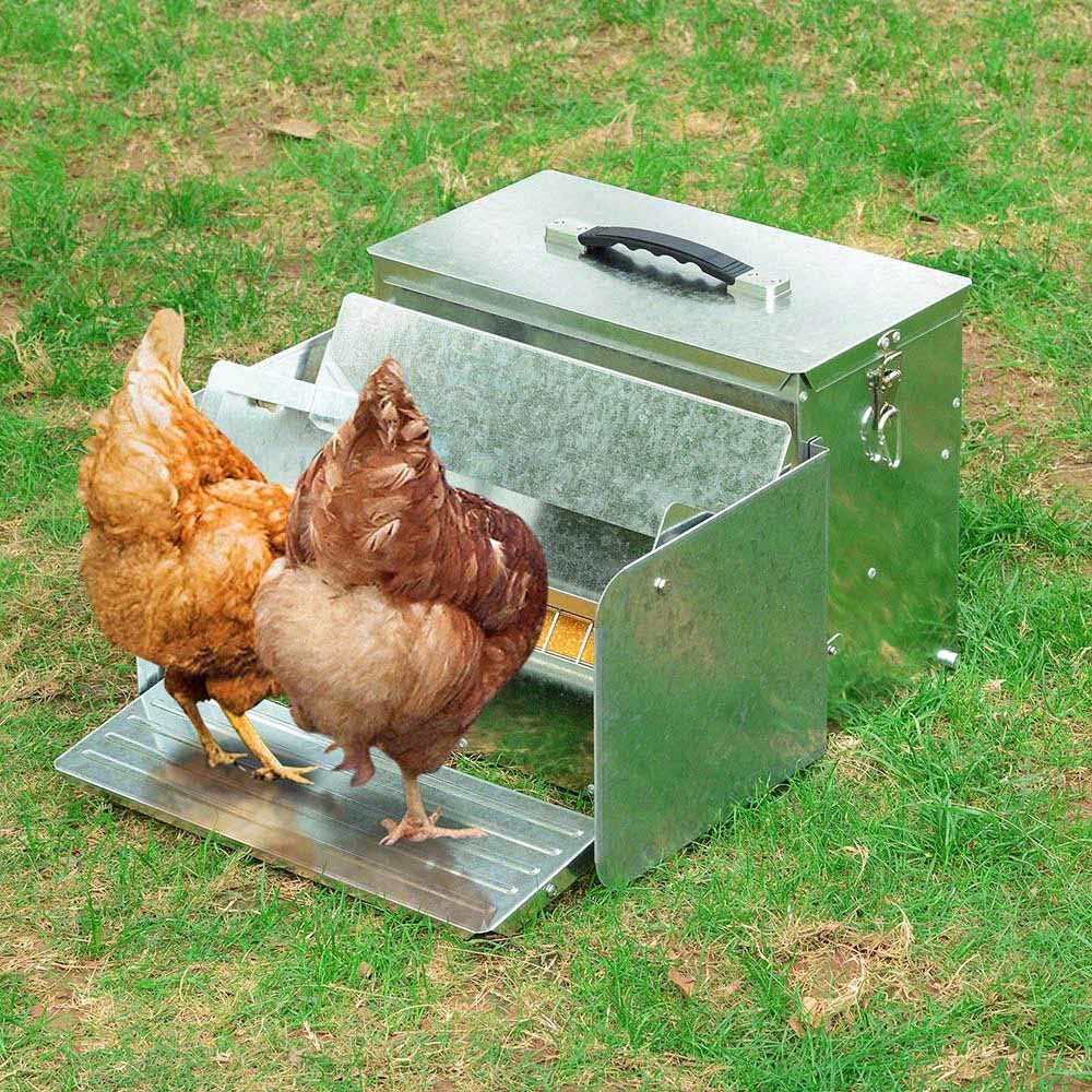 Yescom 12L Automatic Chicken Feeder Portable with Lock Rat Proof Weatherproof Aluminum Trough Poultry Farm Tank by Yescom