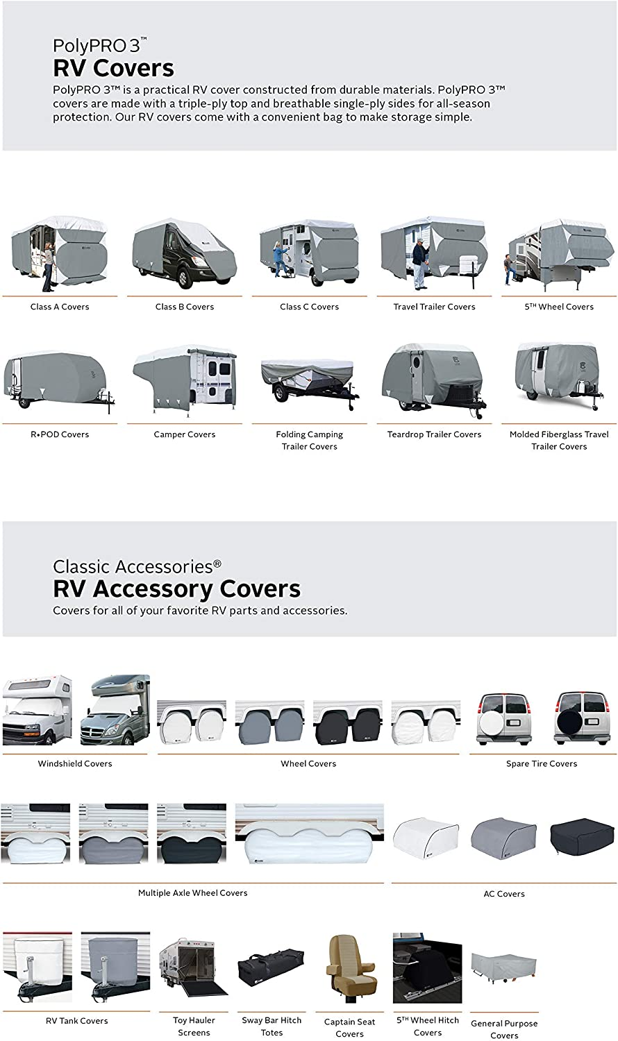 Classic Accessories OverDrive PolyPro 3 Deluxe Travel Trailer Cover Renewed Fits 38-40