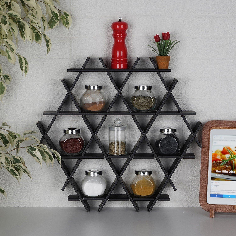 LaModaHome Cardboard Shelf 100% Corrugated Cardboard (20.5'' x 18.9'' x 2.8'') Black Triangle Hexagon Decorative Design Kitchen Storage Shelf Multi Purpose