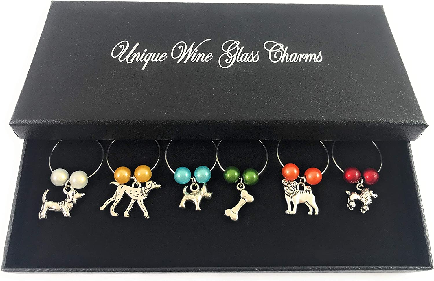 Set of 6 Handmade Wine Lovers Wine Glass Charms with Gift Box by Libbys Market Place